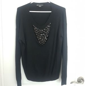 Armani Exchange sweater with draping black gems